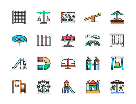 Set of Playground Color Line Icons. Climbing Rope Net, Double Seesaw and more.