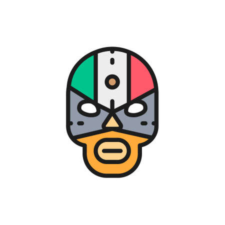 Mexican fighter mask, wrestler flat color line icon.
