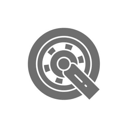 Car wheel lock grey icon. Isolated on white background Vektoros illusztráció
