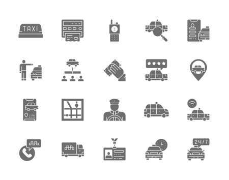 Set of Taxi Gray Icons. Truck, Delivery, Cabbie, Taxicab, Id Card and more. Ilustración de vector