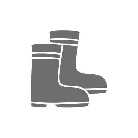 Rubber boots grey icon. Isolated on white background