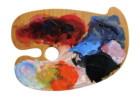 acryl: Artist paint palette board on white background