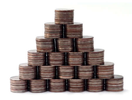 there are 210 coins in this pyramid Stock Photo