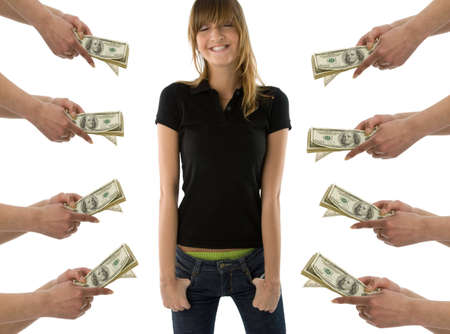 Happy girl standing with closed eyes and  imagine the heaps of money Stock Photo - 943244