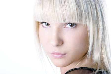 Light clean and fashionable portrait of beautiful blonde girl