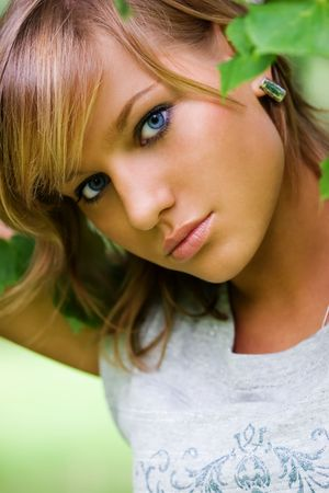 Summer glamourous and fashion portrait of the young  beautiful woman with blue eyes. Stock Photo - 1193053