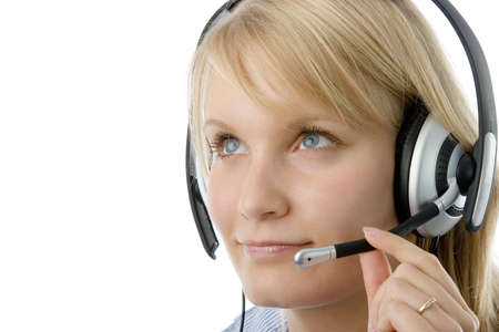 Portrait of attractive business woman with headset isolated over white background. photo