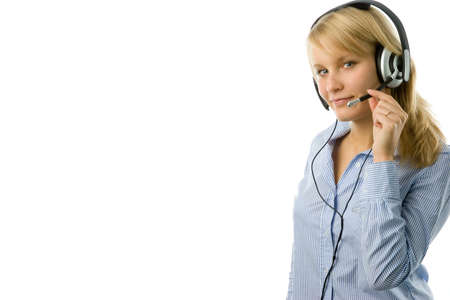 Portrait of attractive business woman with headset isolated over white background with large area for your text