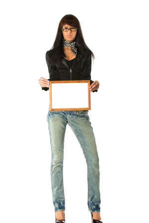 Woman with empty wooden frame demonstrating your message or picture Stock Photo - 2240835