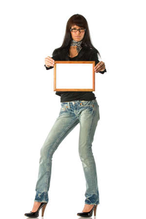 Woman with empty wooden frame demonstrating your message or picture Stock Photo - 2240852