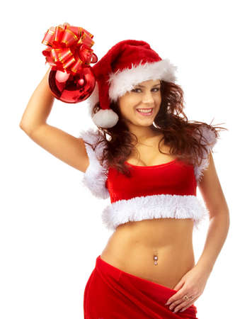 Handsome and sexy santa in red  posing over white background Stock Photo - 2240906