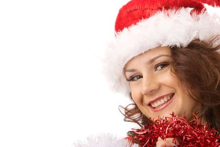 Handsome  santa girl in red clothes  posing over white background photo