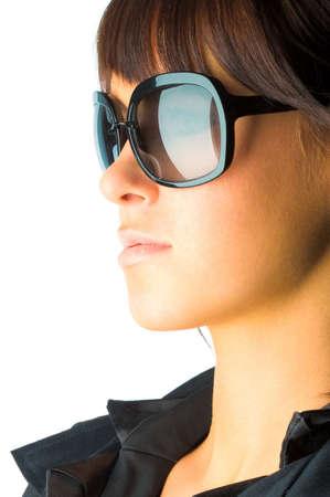 Woman in sun glasses. Fashion portrait photo
