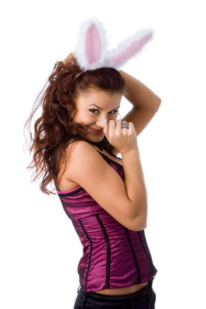 Sexy bunny girl. Isolated over white Stock Photo