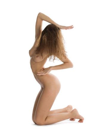 nude little girls: Beautiful naked woman with hidden face. Classical artistic poses. Isolated over white