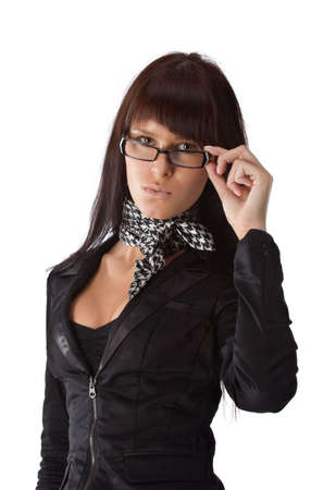 Young  businesswoman looking over her glasses