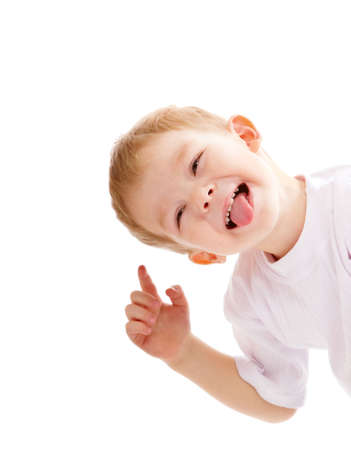 Funny little boy isolated over white background