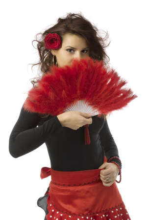 Seductive spanish woman holding a red fan Stock Photo - 3219497