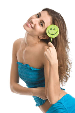Young happy woman playing with funny lollipop. Isolated over white background photo