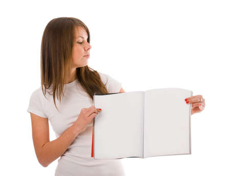 Young woman with clear magazine in her hands. You can add your own text or picture in it. Stock Photo - 3976247