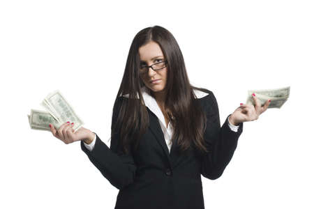 Young businesswoman in glasses with money in her hands photo