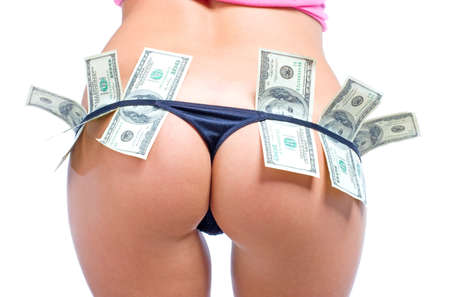 naked sexy girl: Beautiful womens buttocs in sexy black panties with dollars Stock Photo