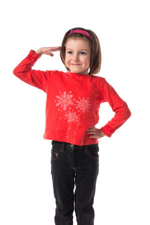 Lovely little girl in red sweater photo