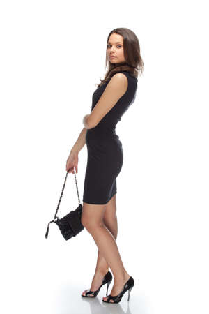 Stylish woman in little black dress photo