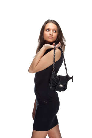 Stylish woman in little black dress photo