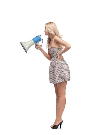 Young blonde woman  with megaphone photo