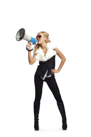 agitation: Young fashionable woman with megaphone