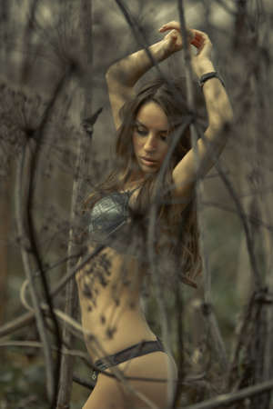Young sexy woman posing in thickets Stock Photo - 11157838