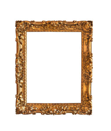 picture frame on wall: Ornamented, very old, gold plated empty picture frame for putting your pictures in Stock Photo
