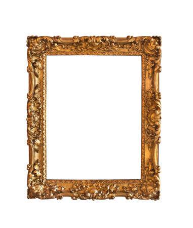 Baroque picture frame: Ornement�, tr�s vieux, or plaqu� cadre d'image vide pour mettre vos photos dans Banque d'images