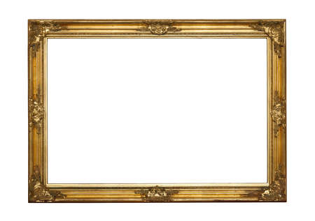 plated: Ornamented, very old, gold plated empty picture frame for putting your pictures in Stock Photo