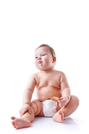 Small baby boy isolated on white background photo