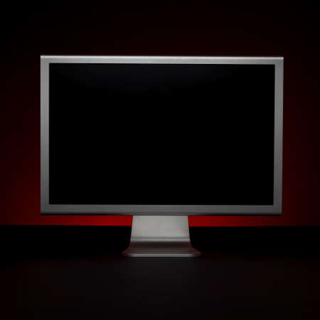 Wide screen modern monitor on a black background. Stock Photo - 15138744