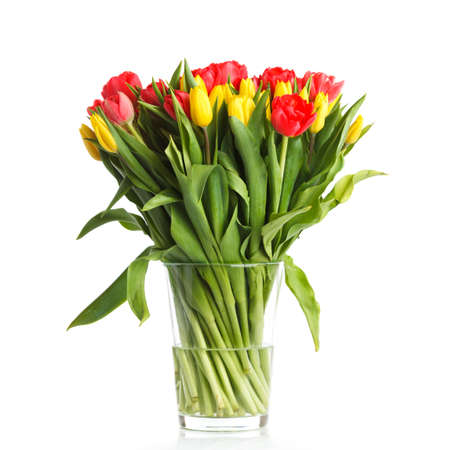 beautiful red tulips close up: A bouquet of fresh tulips Stock Photo