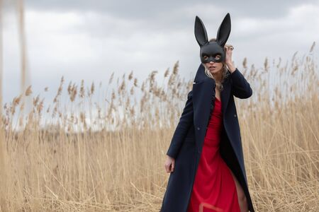 Beautiful blonde woman in black animal mask. Red sexy dress and black autumn coat. Field with high autumn grass. Stockfoto