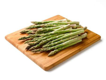 Fresh Asparagus on Cutting Board