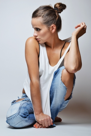 jeans girl: fashion photo of beautiful woman Stock Photo