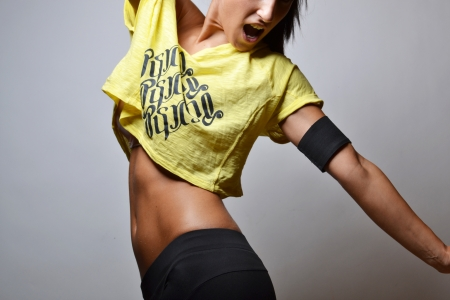 girl in sportswear: beautiful fitness woman, studio shot Stock Photo