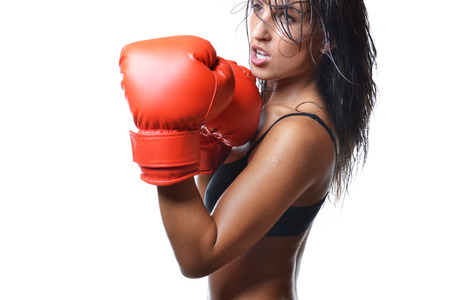 fit girl: beautiful woman with the red boxing gloves, isolated on white background
