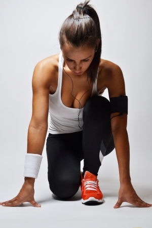 fitness: Fitness schönen Frau, Studioaufnahme