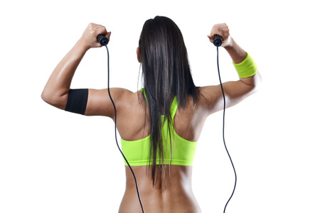 schönen Fitness Frau springt Seil Lizenzfreie Bilder
