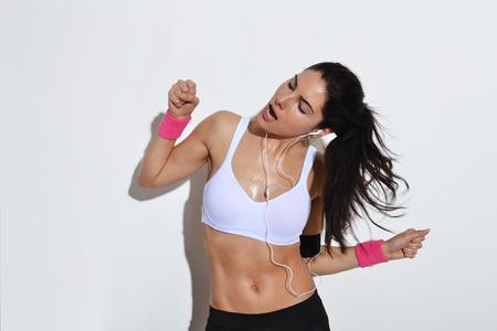 beautiful fitness woman dancing