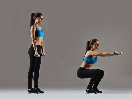 schönen Fitness-Frau arbeitet