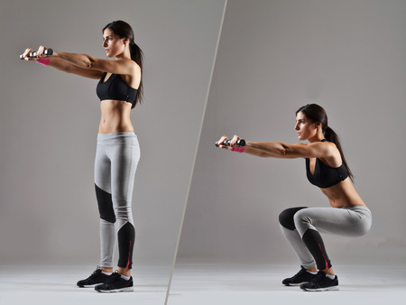 beautiful fitness woman working out photo