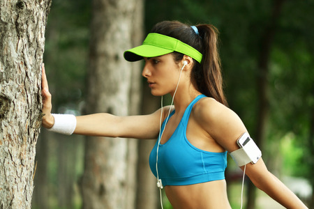 beautiful fitness woman, outdoor shoot Stock Photo