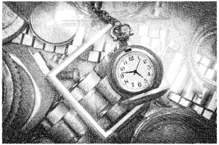 Vintage Watch , Black and White Drawing by Pencil ,illustration